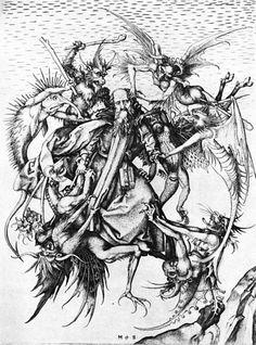Temptation of St. Anthony Martin Schongauer Early Renaissance Engraving Metropolitan of Art, New York Religious images Dance Of Death, Martin Schongauer, Renaissance, Temptation Of St Anthony, Arte Obscura, Danse Macabre, Albrecht Durer, Angels And Demons, Evil Demons