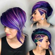 30 Stylish Undercut Hairstyles for Women Shaved side bob with purple oil slick hair and shaved hair design. The post 30 Stylish Undercut Hairstyles for Women appeared first on Beautiful Daily Shares. Undercut Hairstyles, Cool Hairstyles, Shaved Hairstyles, Short Undercut, Undercut Women, Undercut Styles, Hair Undercut, Undercut Designs, Haircut Short