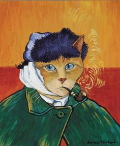 Self-Portrait With Bandaged Ear and Pipe (Vincent Van Gogh) by Susan Herbert from Impressionist Cats Frida Art, Image Chat, Gatos Cats, Vincent Van Gogh, Crazy Cats, Cool Cats, Pet Portraits, Cat Art, Cats And Kittens