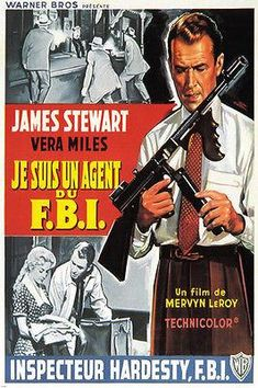 FILM NOIR FRENCH movie poster FBI STORY Jimmy STUART vera MILES 24X36