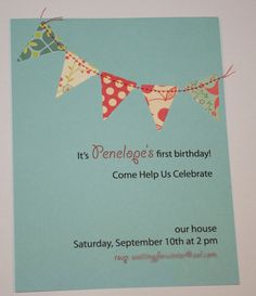 Bunting flags pennant garland handmade - Invitation / Card