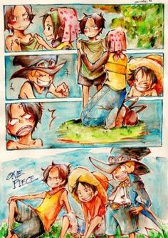 Shanks Makino Luffy Ace et Sabo