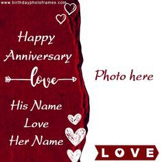 You Can Create Personalized Anniversary Card Online With Couple Name Wedding Anniversary Cards Happy Wedding Anniversary Cards Happy Wedding Anniversary Wishes