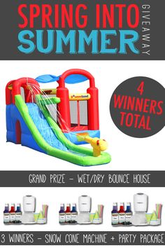 Enter this AWESOME Spring into Summer Giveaway!  4 WInners! Win a Water Slide Bounce House or Snow Cone and Party Package!! The kids will love this! www.settingforfour.com