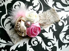 Cream and Pink Rosette Lace Headband with por TheBabyBellaBoutique