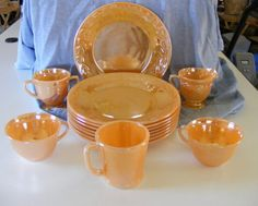 Fire King Peach Lustre Dinnerware, mixed lot #loneelk - love this color!