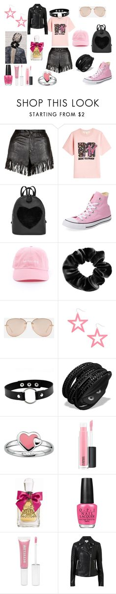 """""""Black & Pink"""" by holly32196-1 on Polyvore featuring Parisian, Marc Jacobs, Converse, claire's, CHARLES & KEITH, Stacks and Stones, MAC Cosmetics, Juicy Couture, OPI and Forever 21"""