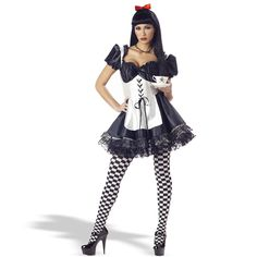 Malice In Wonderland Adult Costume - This twisted storybook character includes a princess satin corset style dress with attached apron and crinoline.  For an added bonus, the black and white checkered leggings are also included! Available in adult sizes Small, Medium and Large. Wig, hairbow, necklace, tea cup and shoes not included. Small.