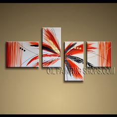 Huge Contemporary Wall Art Hand-Painted Art Paintings For Bath Room Abstract. This 4 panels canvas wall art is hand painted by Kerr.Donald, instock - $155. To see more, visit OilPaintingShops.com