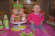 pink mod monkey birthday cake