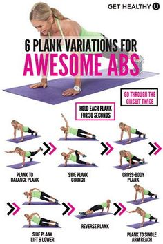 5 Plank Variations For Awesome Abs Get the most out of your plank by trying this plank workout! It includes six different plank exercises that will be sure to leave your belly tight and your back strong! Fitness Workouts, Lower Ab Workouts, Abs Workout Routines, At Home Workouts, Workout Tips, Bed Workout, Plank Workout, Workout Plans, Bodyweight Arm Workout