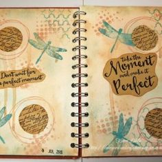 Visible Image stamps - Journal Page - Scribbled Circle stamps - Take The Moment and Make It Perfect - Dragonfly - Karen Liddle