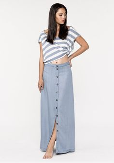 2e5d3fbef00a Joanie Maxi Skirt - Ethereal tencel button down maxi skirt with a slight  A-line
