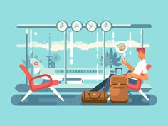 Waiting of departure at airport flat vector illustration