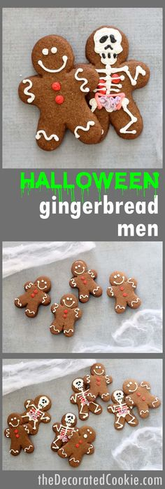 Halloween gingerbread men -- traditional gingerbread man cookies with spooky skeletons (with anatomy) hiding underneath!