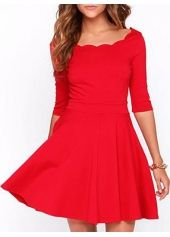 Latest Half Sleeve A Line Dress Solid Red