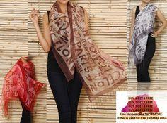 Red , Brown & Red #Cotton #Silk #Stole by #Welkin