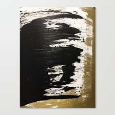 """Fine art print on bright white, fine poly-cotton blend, matte canvas using latest generation Epson archival inks. Individually trimmed and hand stretched museum wrap over 1-1/2"""" deep wood stretcher bars. Includes wall hanging hardware. #abstractart #wallart #canvas #minimal #gold"""