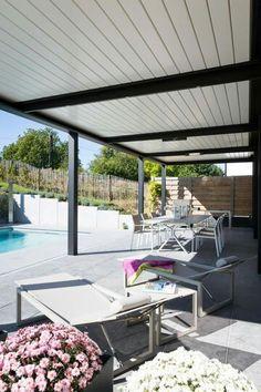 Pergola Carport, Gazebo, Casa Patio, Porches Casa, Electric Blinds, Modern Scandinavian Interior, Rustic Cafe, Garden Design, House Design