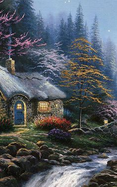 Thomas Kinkade Twilight Cottage painting is shipped worldwide,including stretched canvas and framed art.This Thomas Kinkade Twilight Cottage painting is available at custom size. Star Wars Kunst, Thomas Kinkade Art, Thomas Kinkade Christmas, Kinkade Paintings, Thomas Kincaid, Comics Illustration, Art Thomas, Animated Gifs, Painting Wallpaper