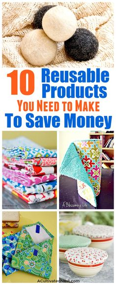 Disposable Products You Can Replace with Reusable Ones- You can save money and help the environment at the same time by making these DIY reusable products! They're so easy to make, and you can use your favorite colors! | environmentally friendly, eco friendly, frugal, sewing, ways to save money, wool dryer balls, cloth paper towels, unpaper towels, #diy #frugalLiving #saveMoney #moneySaving