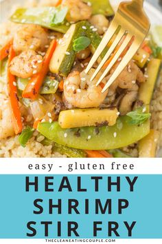 Healthy Shrimp Stir Fry is an easy, quick meal done in under 20 minutes. Use rice or keep it paleo, whole30 and keto / low carb with cauliflower rice! A clean eating dinner everyone will love. The sauce is delicious and works well on noodles too! Easy Clean Eating Recipes, Clean Eating Dinner, Easy Healthy Dinners, Lunch Recipes, Seafood Recipes, Healthy Dinner Recipes, Easy Meal Prep, Healthy Meal Prep, Shrimp Stir Fry Healthy