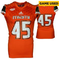 807222825ca Miami Hurricanes Fanatics Authentic Game-Used Orange  45 Adidas Football  Jersey used between the 2015 and 2016 Seasons - Size Medium