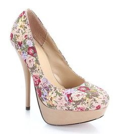 Taupe Multi Floral Cone Heel Round Toe High Heel Pumps 394965c19bb9