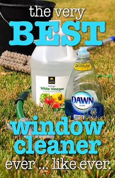 The best window cleaner. 2 cups water, 1/4 cup white vinegar,1/2 teaspoon dish detergent. Put solution in spray bottle and rinse with clean water before solution dries.