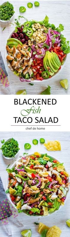 Delicious Blackened Fish Taco Salad for taconight | chefdehome.com