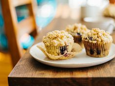 Blueberry muffins with almond crumb topping. Made my way they are 161 calories each (w/o topping)