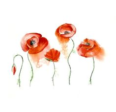 Red poppy painting Abstract flowers art Red flower by fairysomnia, $65.00