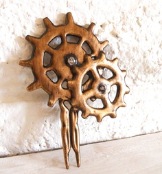 Cogs Gears hair stick Steampunk distressed  Antique Gold- Elegant Machinery. $38.00, via Etsy.
