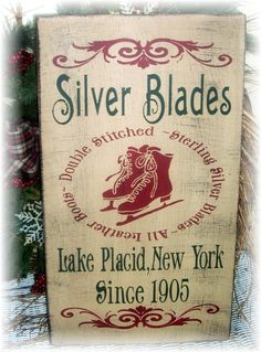 Silver Blades primitive wood Christmas sign by woodsignsbypatti, $32.00