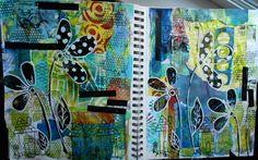 Art Journal page of collaged Gelli prints http://allthatglittersscrapbooking.blogspot.ca/.