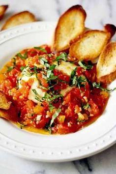 EASY Burrata with Wine and Garlic Sauteed Tomatoes