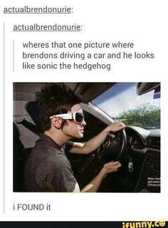 Brendon Urie=Sonic the Hedgehog Emo Band Memes, Emo Bands, Music Bands, Emo Meme, Music Stuff, My Music, Music Lyrics, Fun Stuff, Panic! At The Disco