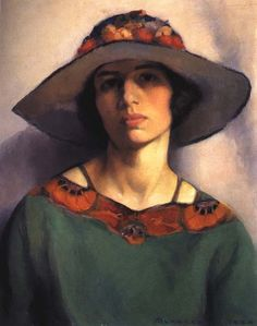 Mabel Alvarez, self-portrait, oil/canvas, 1923. Collection Alvarez family, Berkeley, CA.   Alvarez's self-portrait has broad areas of flat paint, with a simple, symmetrical, and focused composition: a lean description in basic terms. The black line around the rim of her hat and on her shoulder frames color. The portrait is relentlessly honest. For Alvarez, this was Modernism in the tradition of Robert Henri's economical but deftly painted realism - focused, abbreviated, enigmatic.