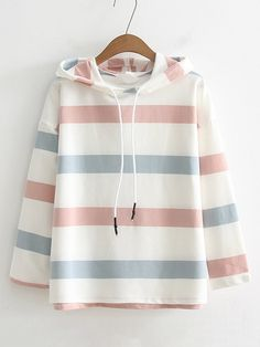 SheIn offers Block Striped Drawstring Hoodie & more to fit your fashionable needs. Girls Fashion Clothes, Teen Fashion Outfits, Girl Outfits, Kawaii Fashion, Cute Fashion, Girl Fashion, Fashion Mode, Korean Fashion, Cute Casual Outfits