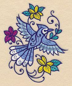 Flourishing Blue Jay design (M12879) from www.Emblibrary.com
