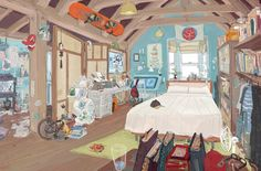 by Scott Watanabe | Concept for Hiro and Tadashi's room. One of the design choices of Big Hero 6 was to create full and complex backgrounds. I think I went a bit overboard but it got the point across.