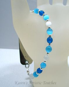 Karen's Artistic Touches Store - Blue White Glass Beaded Medical ID Replacement Bracelet, $13.99 (http://www.karensartistictouches.com/blue-white-glass-beaded-medical-id-replacement-bracelet/)