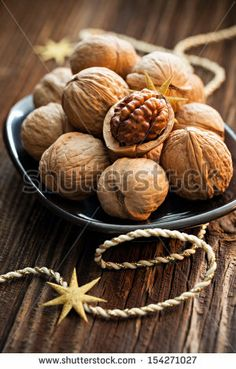 walnuts on a plate - stock photo