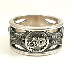 Silver Gear Ring  Steampunk Art Deco Mens by SwankMetalsmithing, $260.00
