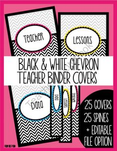 Chevron Binder Covers - Black and White from From the Pond on TeachersNotebook.com (40 pages)  - Fancy-up your binders with these easy-to-prepare and glamorous chevron binder covers!