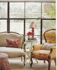 I am completely LOVIN the Yellow & Red Toile!!! Ohmygosh I simply MUST find this fabric!!!!!!  French+country+cottage+Ruth+Ann+Risvold.jpg 650×800 pixels