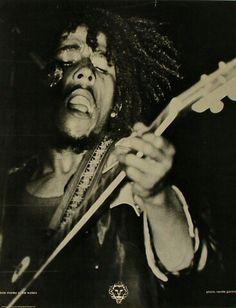 Circa 1973, Bob Marley in concert