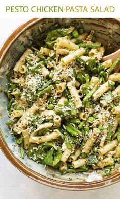 Pesto Pasta Salad with asparagus, peas, spinach and chicken is great as a side dish or as a light main dish.