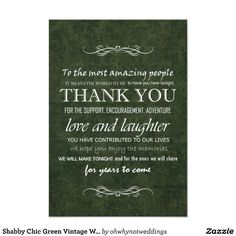 Shabby Chic Green Vintage Wedding Thank You card.