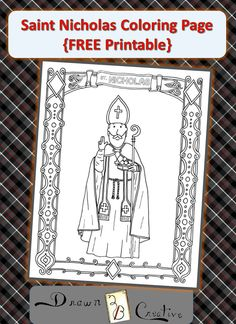 {Free} Saint Nicholas Coloring Page - Works Of Mercy, St Nicholas Day, Advent, Christmas Activities, Christmas Games, Retro Christmas, Christmas 2019, Christmas Christmas, Catholic Crafts